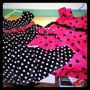 Gymboree dollie and me red black dot dress sz 5 6